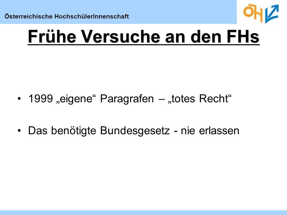 Österreichische HochschülerInnenschaft Frühe Versuche an den FHs 1999 eigene Paragrafen – totes Recht Das benötigte Bundesgesetz - nie erlassen