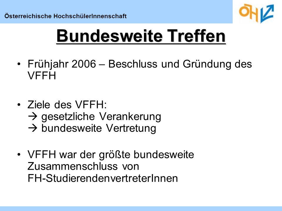 Österreichische HochschülerInnenschaft Bundesweite Treffen Frühjahr 2006 – Beschluss und Gründung des VFFH Ziele des VFFH: gesetzliche Verankerung bundesweite Vertretung VFFH war der größte bundesweite Zusammenschluss von FH-StudierendenvertreterInnen