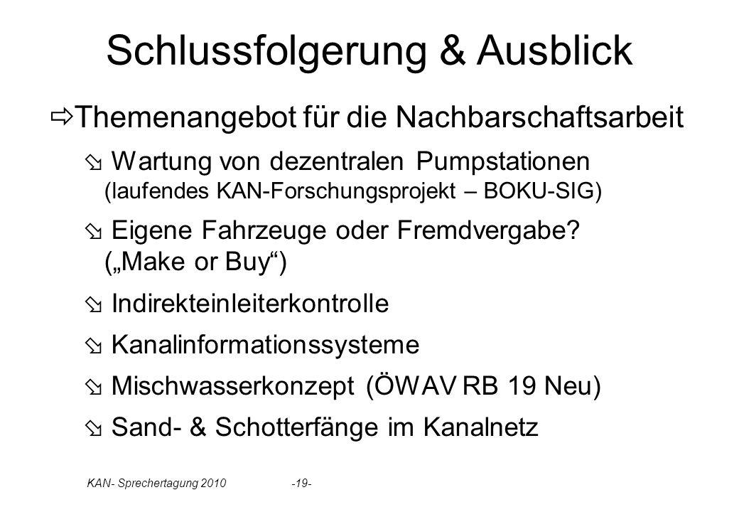 Schlussfolgerung & Ausblick Themenangebot für die Nachbarschaftsarbeit Wartung von dezentralen Pumpstationen (laufendes KAN-Forschungsprojekt – BOKU-S