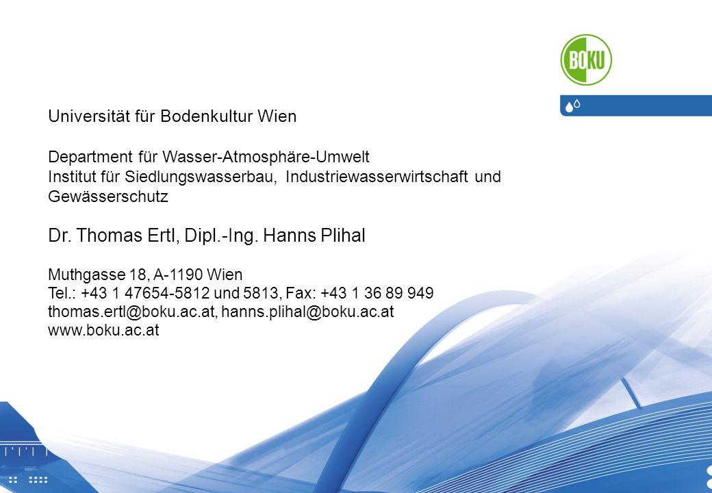 18.05.2014 20 Universität für Bodenkultur Wien Department für Wasser-Atmosphäre-Umwelt Institut für Siedlungswasserbau, Industriewasserwirtschaft und