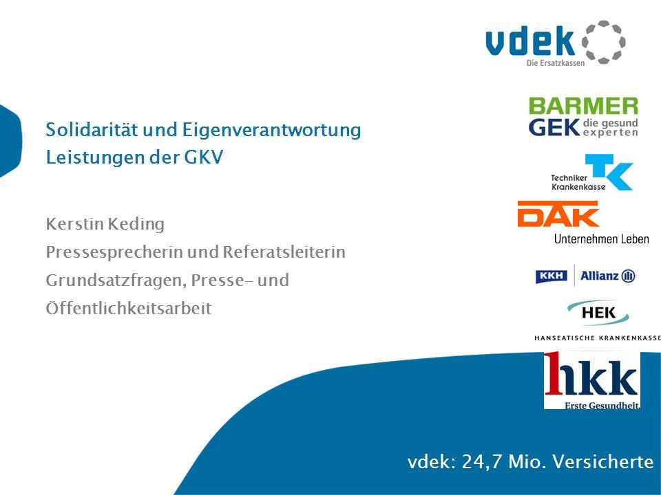 Solidarität und Eigenverantwortung Leistungen der GKV Kerstin Keding Pressesprecherin und Referatsleiterin Grundsatzfragen, Presse- und Öffentlichkeit