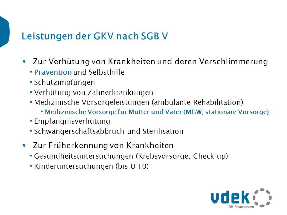 Leistungen der GKV nach SGB V Zur Verhütung von Krankheiten und deren Verschlimmerung Prävention und Selbsthilfe Schutzimpfungen Verhütung von Zahnerk