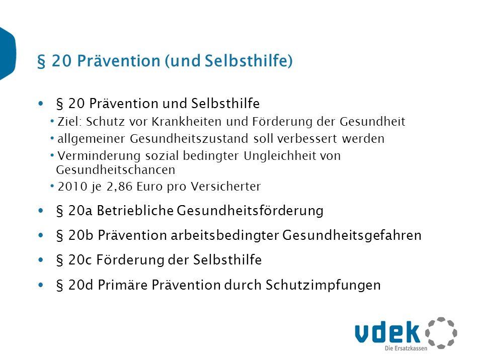 § 20 Prävention (und Selbsthilfe) § 20 Prävention und Selbsthilfe Ziel: Schutz vor Krankheiten und Förderung der Gesundheit allgemeiner Gesundheitszus