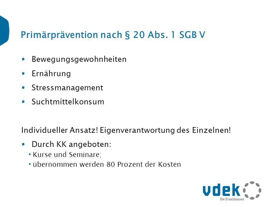 Primärprävention nach § 20 Abs. 1 SGB V Bewegungsgewohnheiten Ernährung Stressmanagement Suchtmittelkonsum Individueller Ansatz! Eigenverantwortung de
