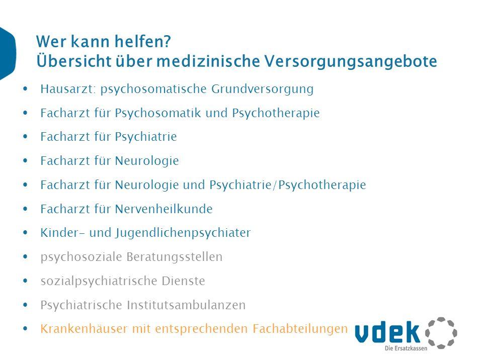 Wer kann helfen? Übersicht über medizinische Versorgungsangebote Hausarzt: psychosomatische Grundversorgung Facharzt für Psychosomatik und Psychothera