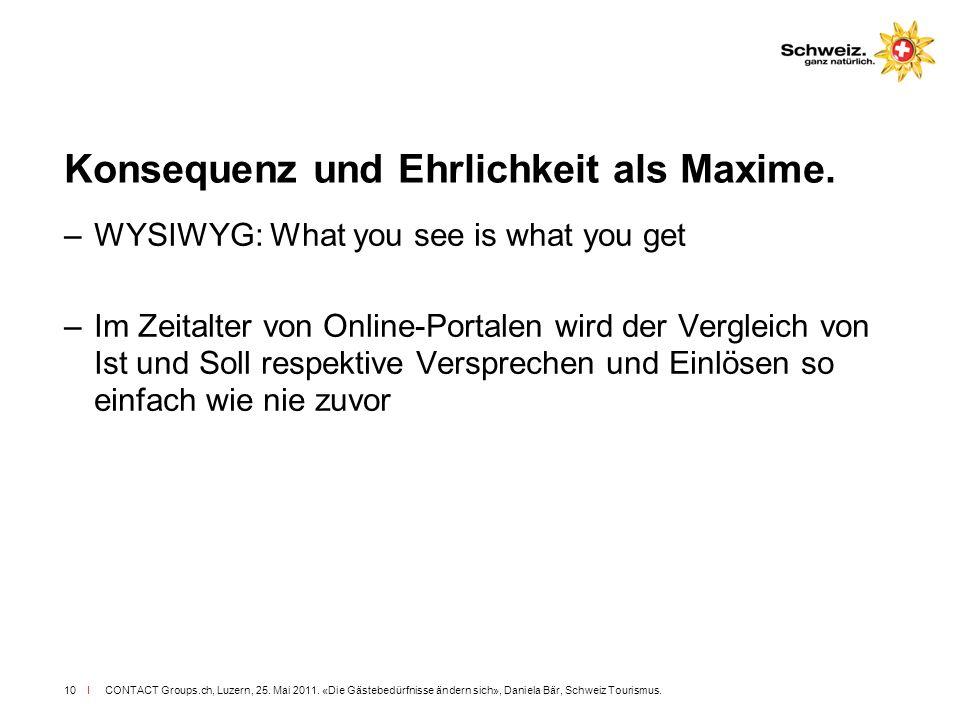 I CONTACT Groups.ch, Luzern, 25. Mai 2011. «Die Gästebedürfnisse ändern sich», Daniela Bär, Schweiz Tourismus.10 Konsequenz und Ehrlichkeit als Maxime
