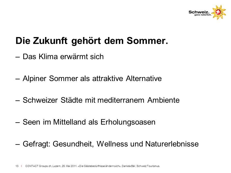 I CONTACT Groups.ch, Luzern, 25. Mai 2011. «Die Gästebedürfnisse ändern sich», Daniela Bär, Schweiz Tourismus.13 Die Zukunft gehört dem Sommer. –Das K