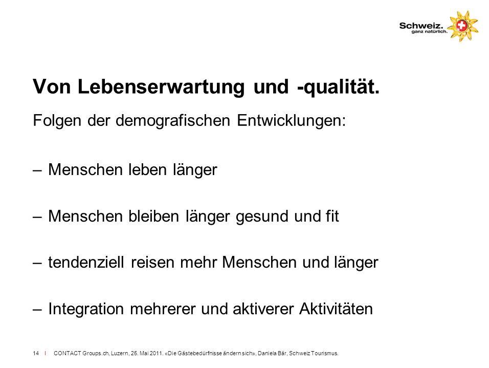 I CONTACT Groups.ch, Luzern, 25. Mai 2011. «Die Gästebedürfnisse ändern sich», Daniela Bär, Schweiz Tourismus.14 Von Lebenserwartung und -qualität. Fo