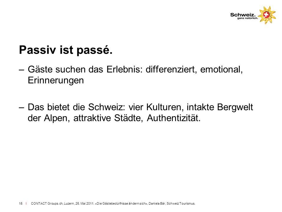 I CONTACT Groups.ch, Luzern, 25. Mai 2011. «Die Gästebedürfnisse ändern sich», Daniela Bär, Schweiz Tourismus.15 Passiv ist passé. –Gäste suchen das E