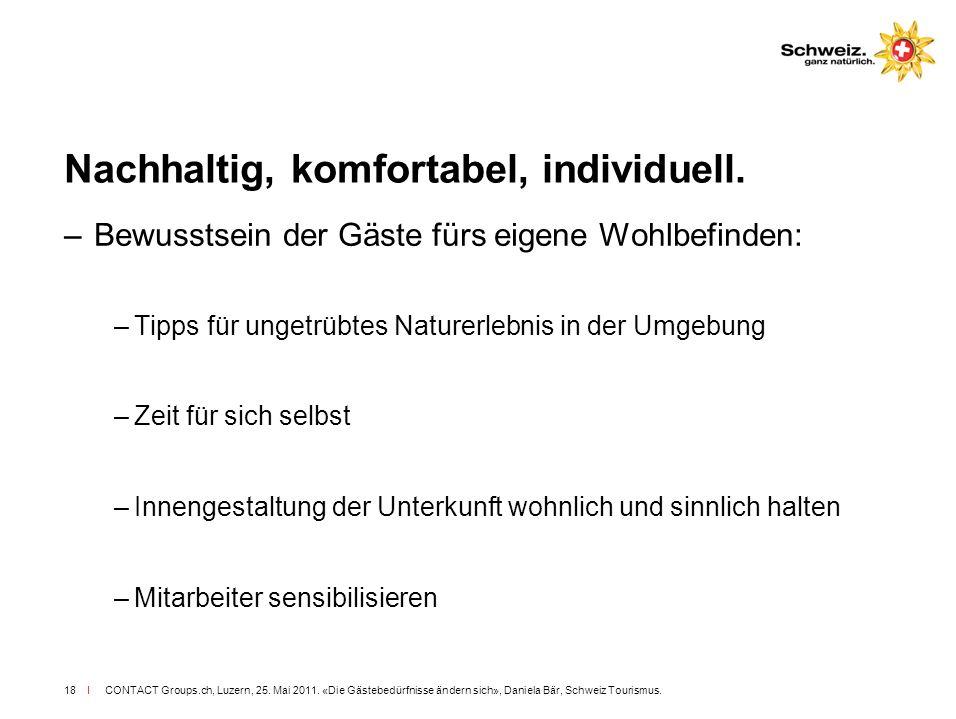 I CONTACT Groups.ch, Luzern, 25. Mai 2011. «Die Gästebedürfnisse ändern sich», Daniela Bär, Schweiz Tourismus.18 Nachhaltig, komfortabel, individuell.