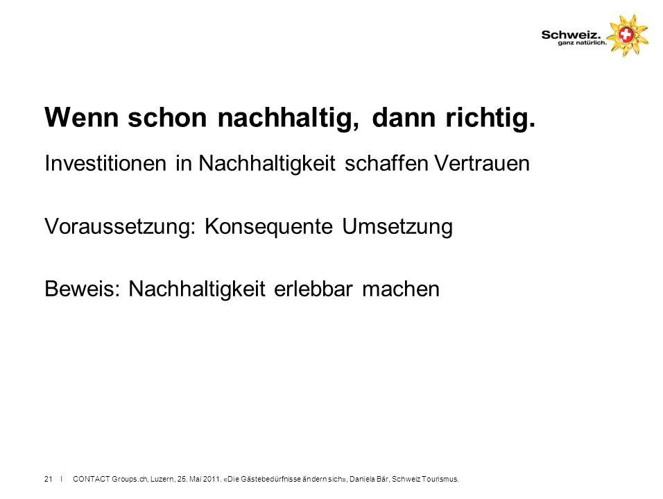 I CONTACT Groups.ch, Luzern, 25. Mai 2011. «Die Gästebedürfnisse ändern sich», Daniela Bär, Schweiz Tourismus.21 Wenn schon nachhaltig, dann richtig.