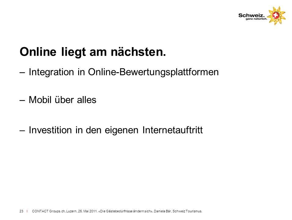 I CONTACT Groups.ch, Luzern, 25. Mai 2011. «Die Gästebedürfnisse ändern sich», Daniela Bär, Schweiz Tourismus.23 Online liegt am nächsten. –Integratio