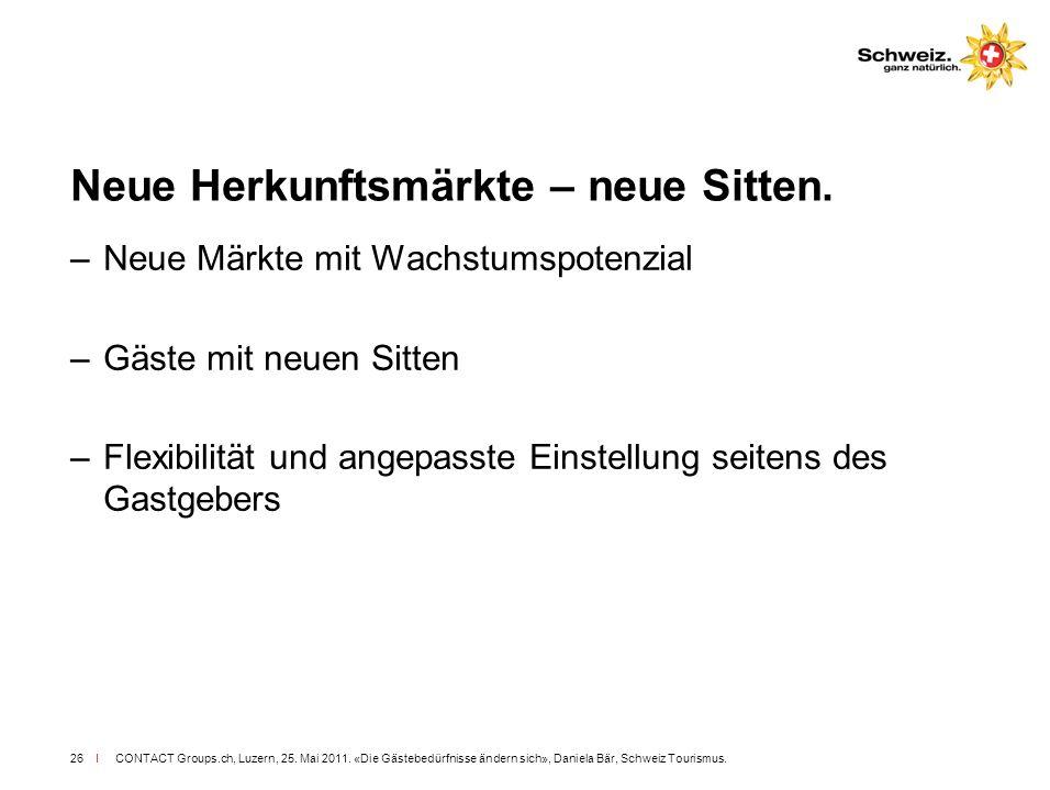 I CONTACT Groups.ch, Luzern, 25. Mai 2011. «Die Gästebedürfnisse ändern sich», Daniela Bär, Schweiz Tourismus.26 Neue Herkunftsmärkte – neue Sitten. –