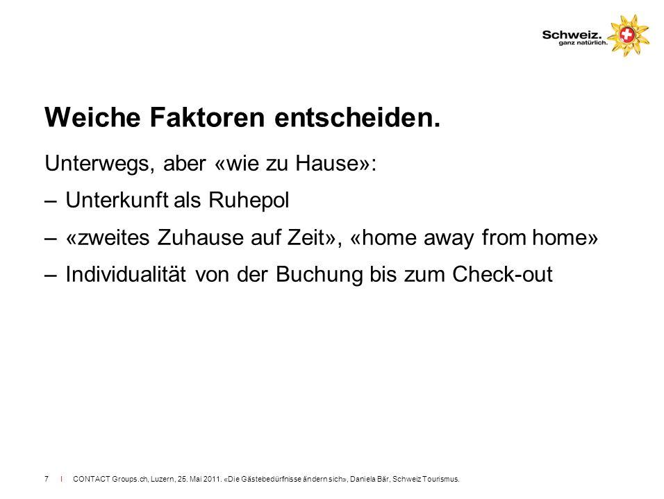 I CONTACT Groups.ch, Luzern, 25. Mai 2011. «Die Gästebedürfnisse ändern sich», Daniela Bär, Schweiz Tourismus.7 Weiche Faktoren entscheiden. Unterwegs