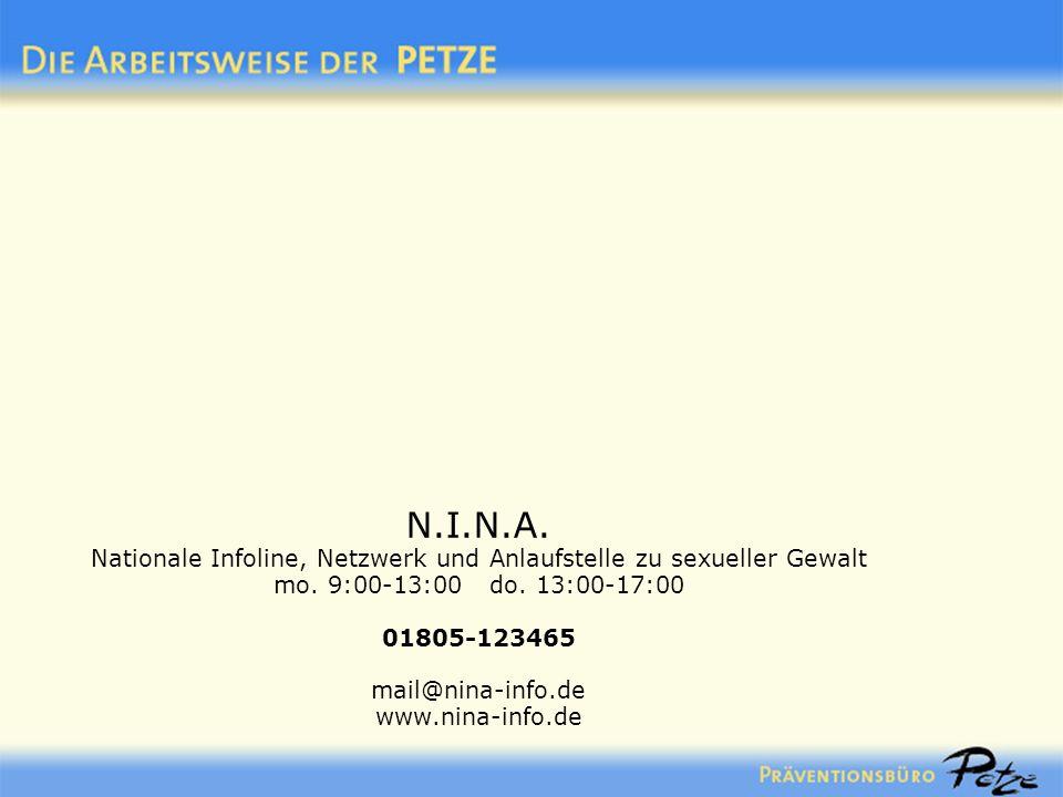 N.I.N.A. Nationale Infoline, Netzwerk und Anlaufstelle zu sexueller Gewalt mo. 9:00-13:00 do. 13:00-17:00 01805-123465 mail@nina-info.de www.nina-info