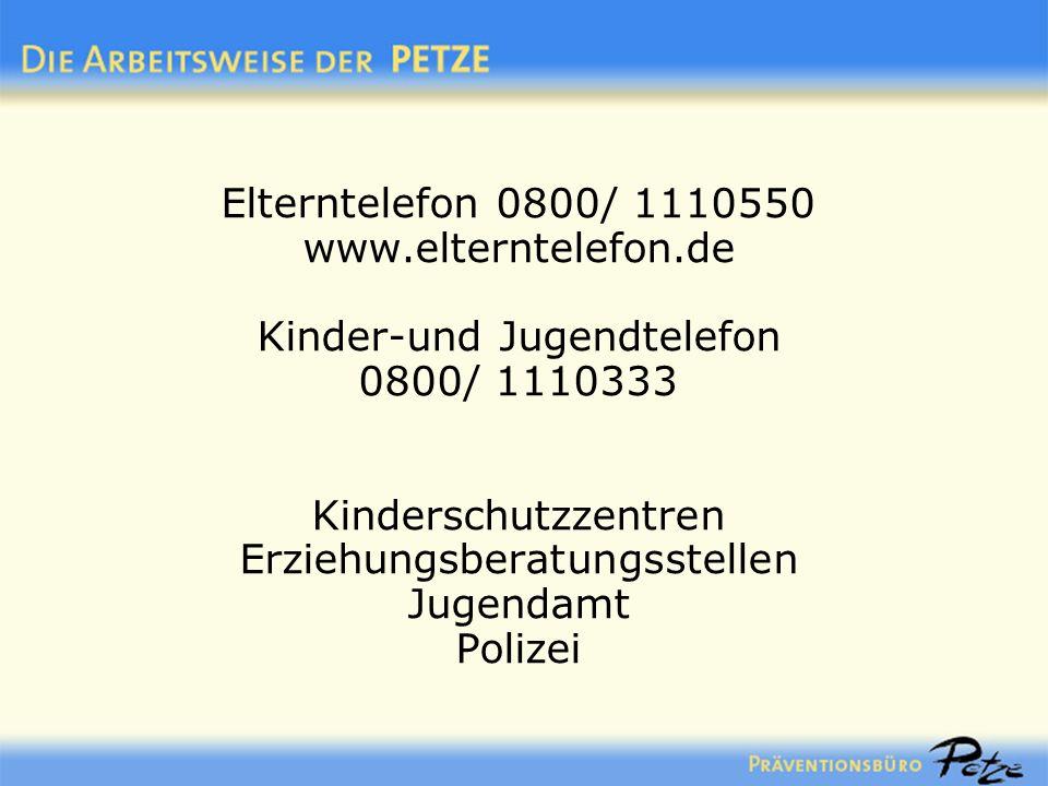 Elterntelefon 0800/ 1110550 www.elterntelefon.de Kinder-und Jugendtelefon 0800/ 1110333 Kinderschutzzentren Erziehungsberatungsstellen Jugendamt Poliz