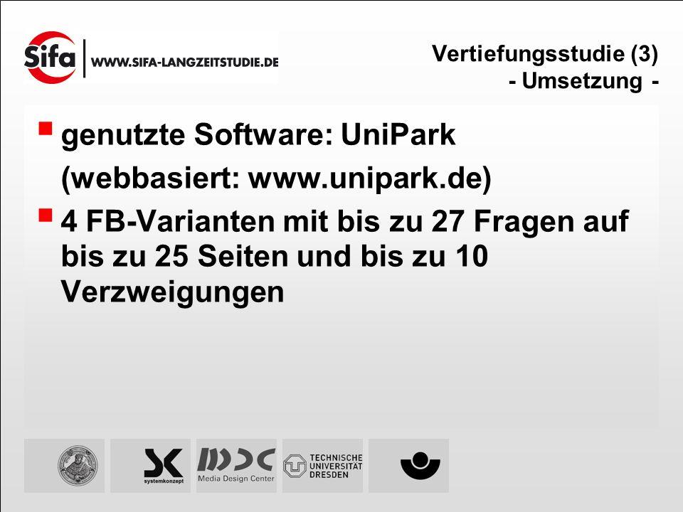 Vertiefungsstudie (3) - Umsetzung - genutzte Software: UniPark (webbasiert: www.unipark.de) 4 FB-Varianten mit bis zu 27 Fragen auf bis zu 25 Seiten u
