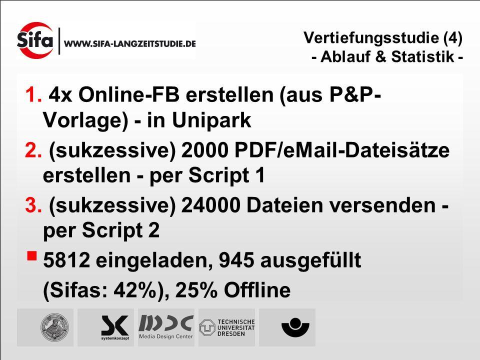 Vertiefungsstudie (4) - Ablauf & Statistik - 4x Online-FB erstellen (aus P&P- Vorlage) - in Unipark (sukzessive) 2000 PDF/eMail-Dateisätze erstellen -