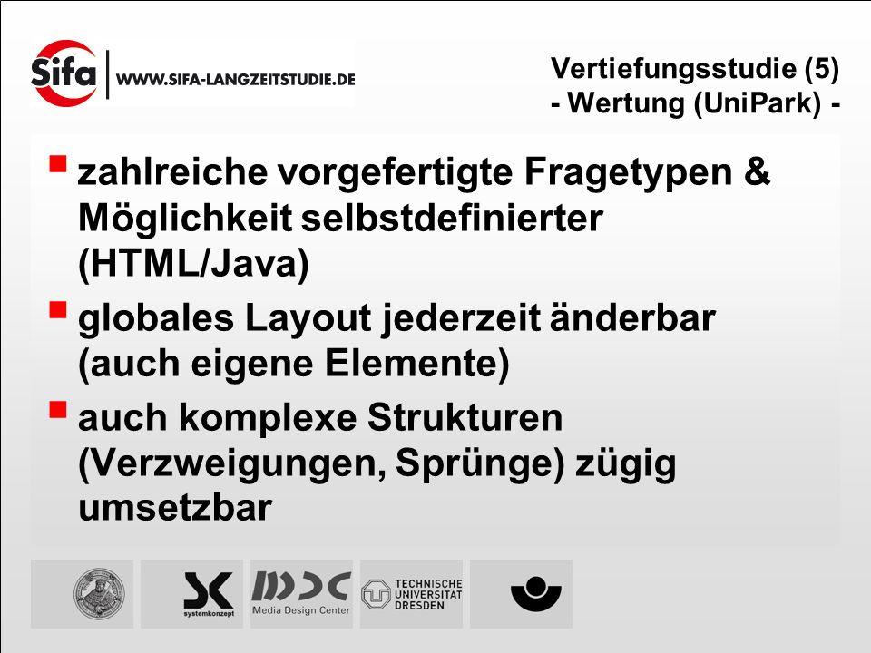 Vertiefungsstudie (5) - Wertung (UniPark) - zahlreiche vorgefertigte Fragetypen & Möglichkeit selbstdefinierter (HTML/Java) globales Layout jederzeit