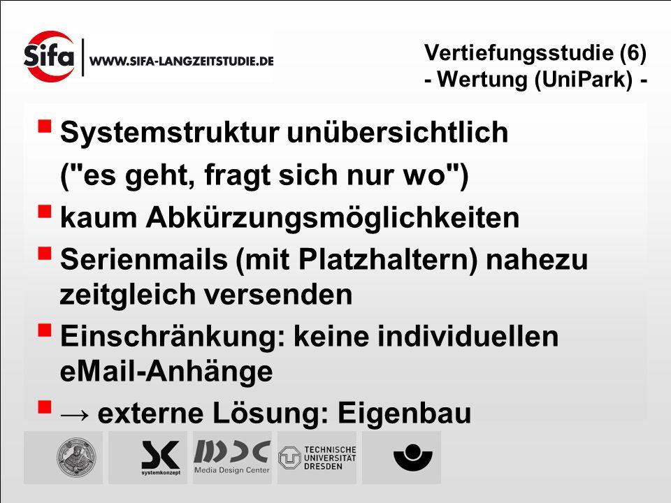 Vertiefungsstudie (6) - Wertung (UniPark) - Systemstruktur unübersichtlich (
