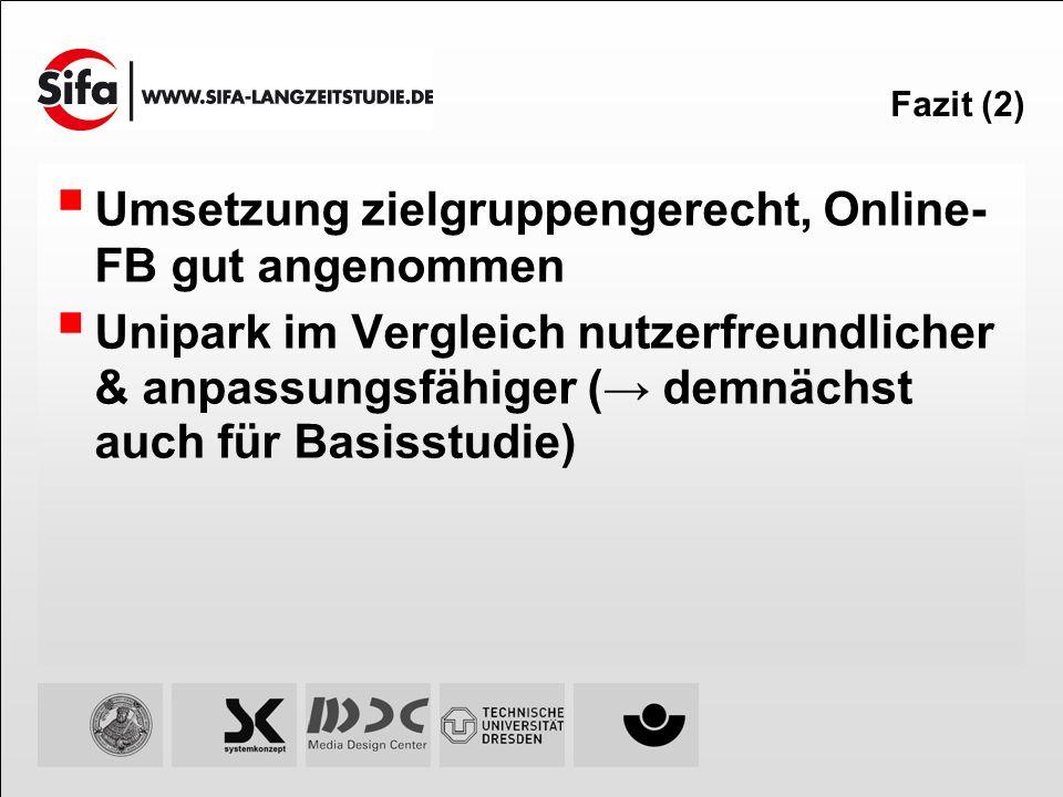 Fazit (2) Umsetzung zielgruppengerecht, Online- FB gut angenommen Unipark im Vergleich nutzerfreundlicher & anpassungsfähiger ( demnächst auch für Bas