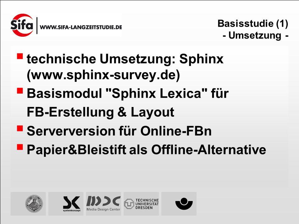 Basisstudie (1) - Umsetzung - technische Umsetzung: Sphinx (www.sphinx-survey.de) Basismodul