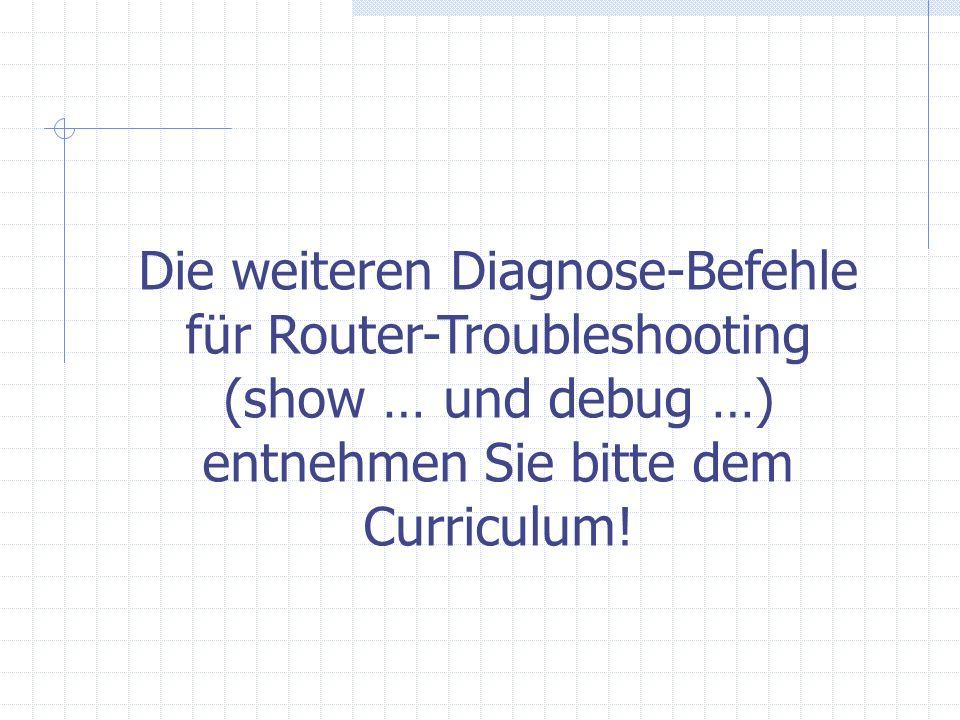 Die weiteren Diagnose-Befehle für Router-Troubleshooting (show … und debug …) entnehmen Sie bitte dem Curriculum!