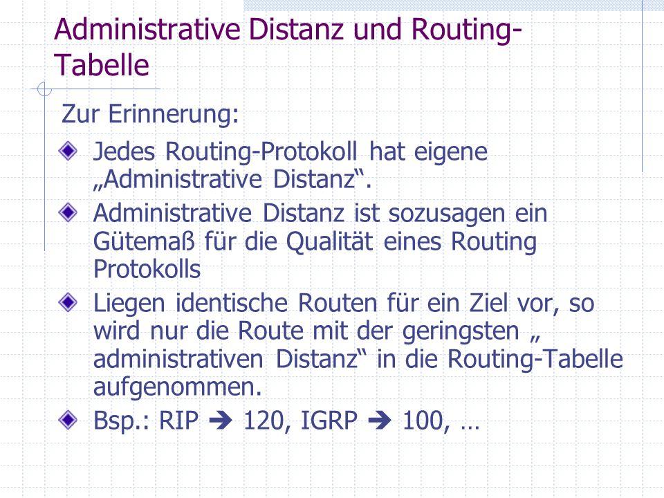 Weiteres zur Routing-Tabelle bzw.