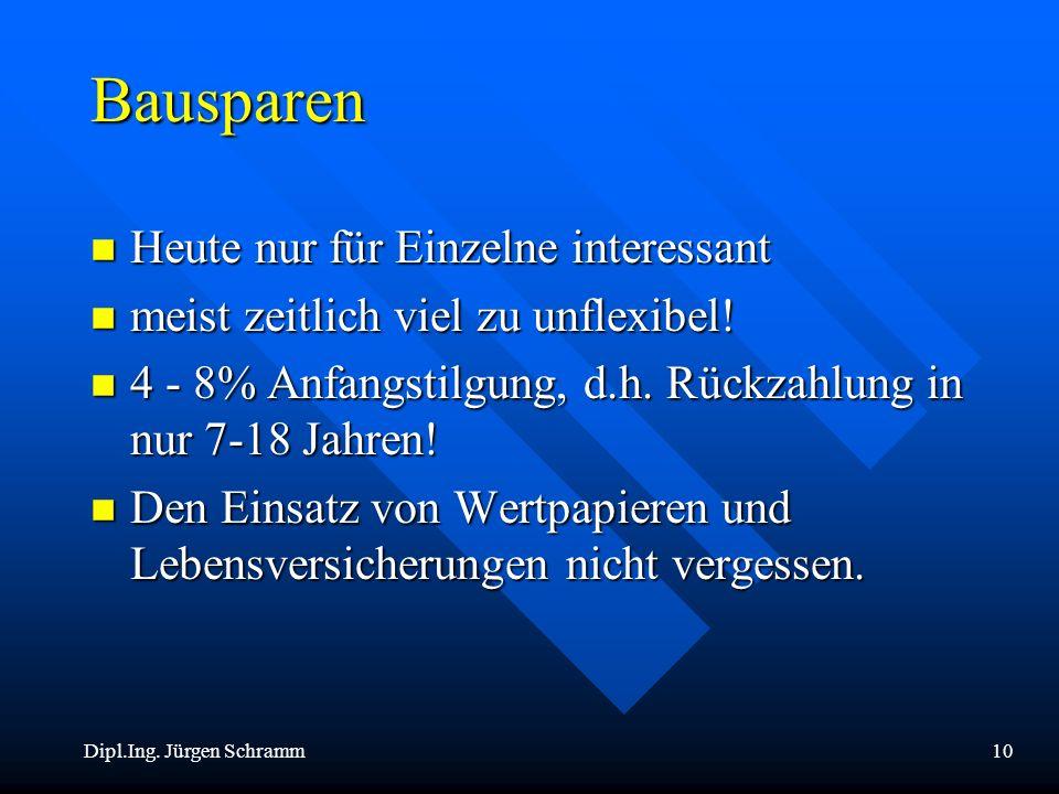 Dipl.Ing. Jürgen Schramm10 Bausparen n Heute nur für Einzelne interessant n meist zeitlich viel zu unflexibel! n 4 - 8% Anfangstilgung, d.h. Rückzahlu