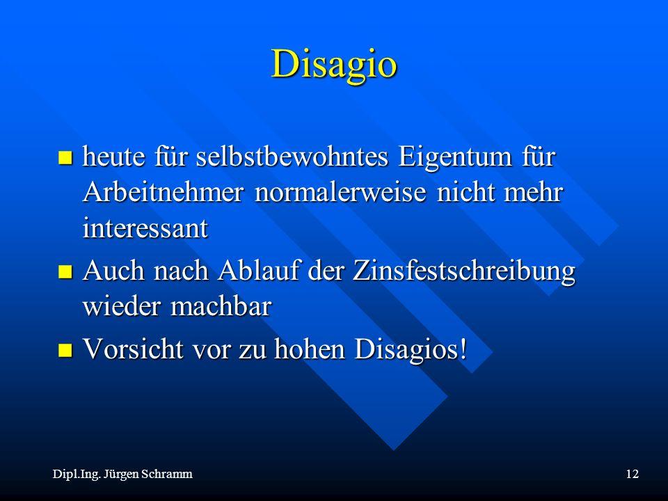 Dipl.Ing. Jürgen Schramm12 Disagio n heute für selbstbewohntes Eigentum für Arbeitnehmer normalerweise nicht mehr interessant n Auch nach Ablauf der Z