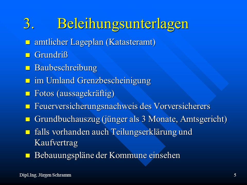 Dipl.Ing. Jürgen Schramm5 3. Beleihungsunterlagen n amtlicher Lageplan (Katasteramt) n Grundriß n Baubeschreibung n im Umland Grenzbescheinigung n Fot
