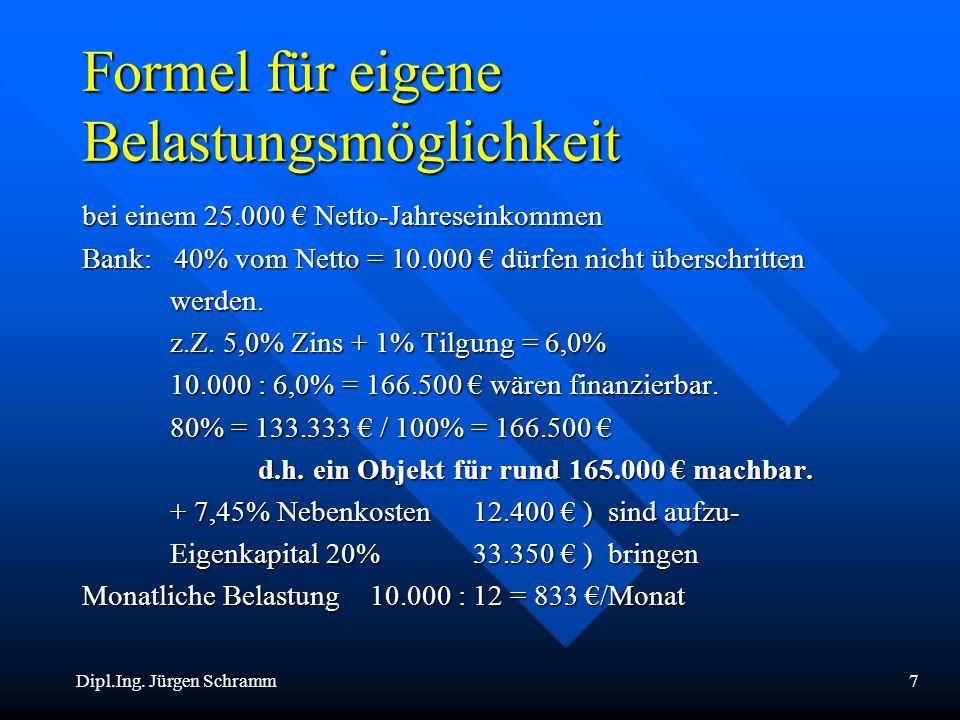 Dipl.Ing. Jürgen Schramm7 Formel für eigene Belastungsmöglichkeit bei einem 25.000 Netto-Jahreseinkommen Bank: 40% vom Netto = 10.000 dürfen nicht übe