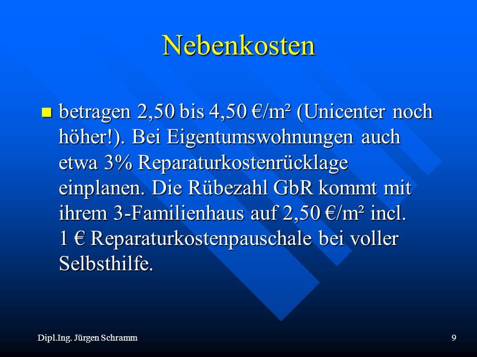 Dipl.Ing. Jürgen Schramm9 Nebenkosten n betragen 2,50 bis 4,50 /m² (Unicenter noch höher!). Bei Eigentumswohnungen auch etwa 3% Reparaturkostenrücklag