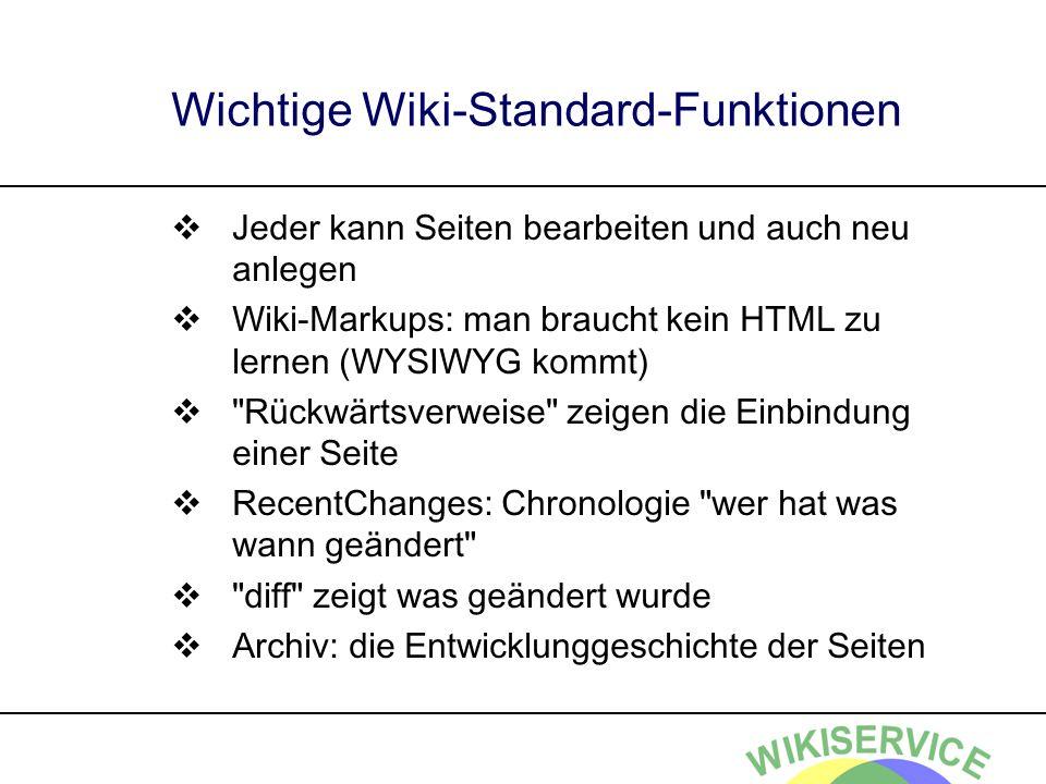 Wichtige Wiki-Standard-Funktionen Jeder kann Seiten bearbeiten und auch neu anlegen Wiki-Markups: man braucht kein HTML zu lernen (WYSIWYG kommt) Rückwärtsverweise zeigen die Einbindung einer Seite RecentChanges: Chronologie wer hat was wann geändert diff zeigt was geändert wurde Archiv: die Entwicklunggeschichte der Seiten