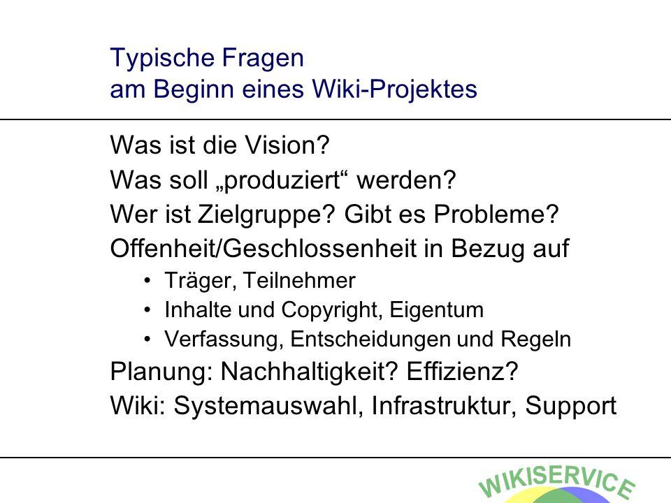 Typische Fragen am Beginn eines Wiki-Projektes Was ist die Vision.