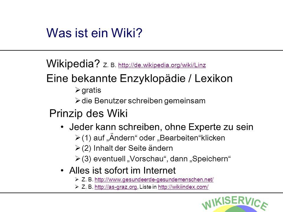 Was ist ein Wiki.Wikipedia. Z. B.
