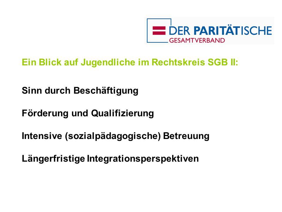 Ein Blick auf Jugendliche im Rechtskreis SGB II: Sinn durch Beschäftigung Förderung und Qualifizierung Intensive (sozialpädagogische) Betreuung Länger