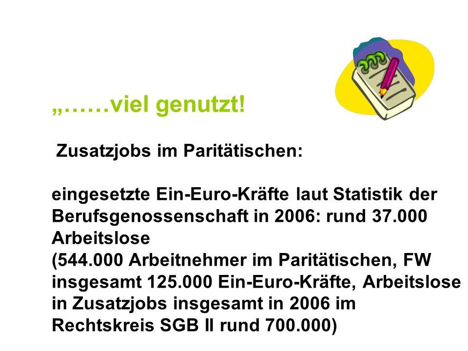 ……viel genutzt! Zusatzjobs im Paritätischen: eingesetzte Ein-Euro-Kräfte laut Statistik der Berufsgenossenschaft in 2006: rund 37.000 Arbeitslose (544