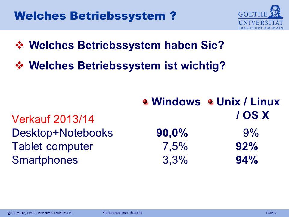 © R.Brause, J.W.G-Universität Frankfurt a.M.Folie 6 Welches Betriebssystem .