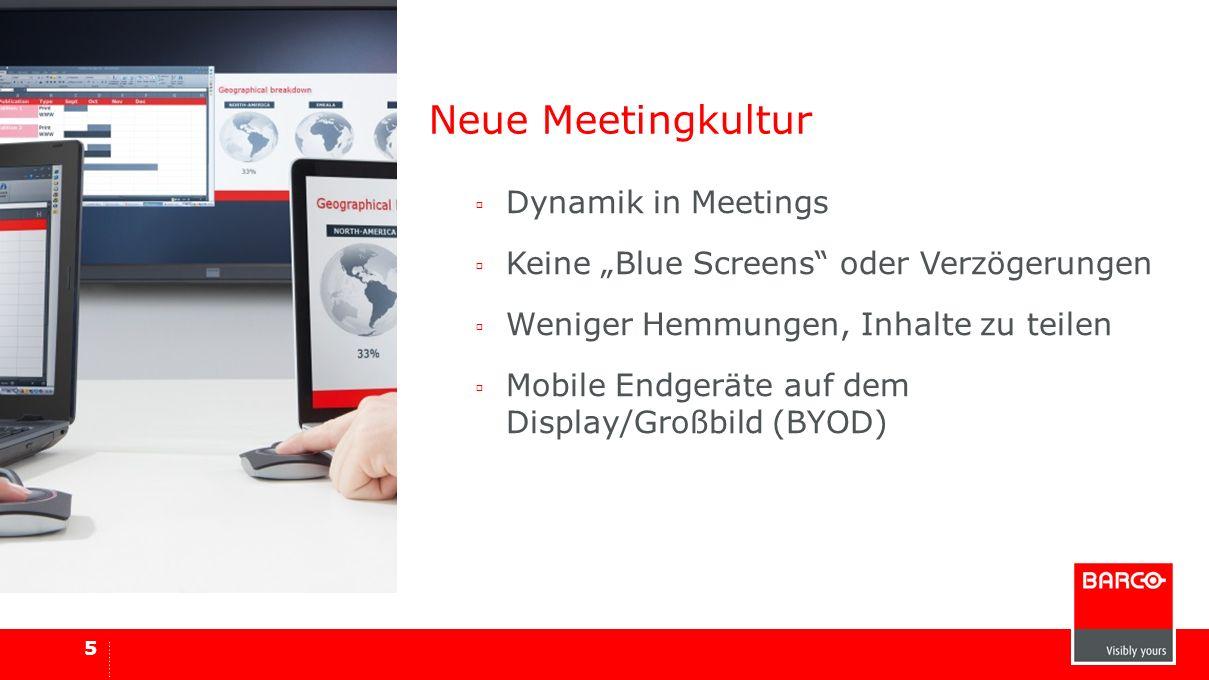Neue Meetingkultur Dynamik in Meetings Keine Blue Screens oder Verzögerungen Weniger Hemmungen, Inhalte zu teilen Mobile Endgeräte auf dem Display/Gro