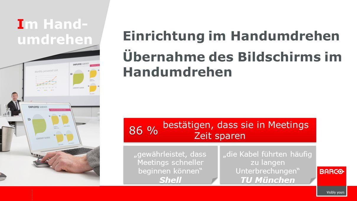 Starten mit einem Klick Wechseln des Bildschirms mit einem Klick *Quelle: Umfrage unter Beta-Benutzern Einfach jeder ist begeistert von der Einfachheit; wir vergeuden keine Zeit mehr mit technischen Problemen VDC Deutschland jeder ist begeistert von der Einfachheit; wir vergeuden keine Zeit mehr mit technischen Problemen VDC Deutschland die Benutzerfreundlich- keit verbessert die Produktivität in Meetings LMS, eine Siemens Division, Belgien die Benutzerfreundlich- keit verbessert die Produktivität in Meetings LMS, eine Siemens Division, Belgien schätzen die Benutzerfreundlichkeit 94 %