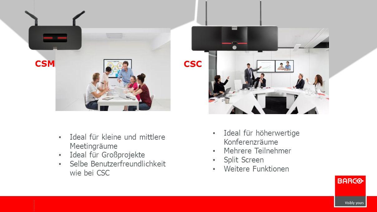 10 CSM CSC ClickShare Mini (CSM)ClickShare Classic AusgangsauflösungFull HD (1.920x1.080) WUXGA 1.920x1200 (DVI), Panorama 2.560x1.080 (DP) Aktive TeilnehmerNur ein Teilnehmer darstellbar1-4 Teilnehmer (Split Screen) Max.