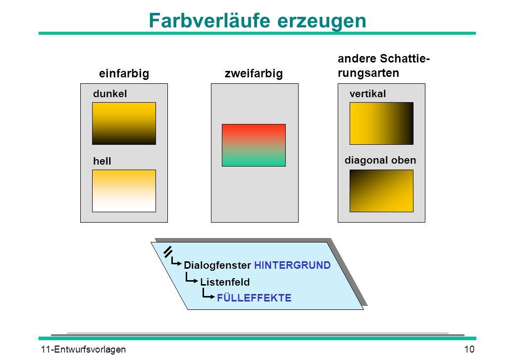 11-Entwurfsvorlagen10 Farbverläufe erzeugen einfarbigzweifarbig andere Schattie- rungsarten dunkel hell vertikal diagonal oben Dialogfenster HINTERGRU