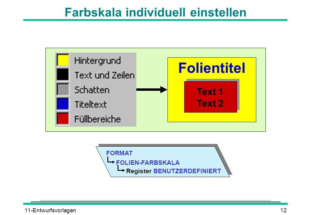 11-Entwurfsvorlagen12 Farbskala individuell einstellen Folientitel Text 1 Text 2 FORMAT Register BENUTZERDEFINIERT FOLIEN-FARBSKALA