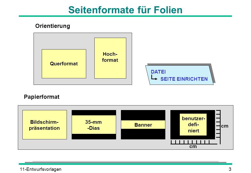 11-Entwurfsvorlagen3 Seitenformate für Folien DATEI SEITE EINRICHTEN Orientierung Querformat Hoch- format Bildschirm- präsentation 35-mm -Dias Banner