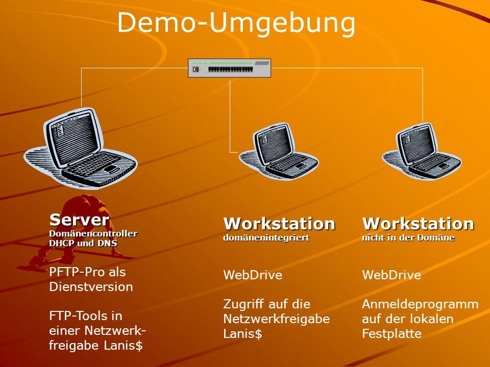 Demo-Umgebung ServerDomänencontroller DHCP und DNS Workstationdomänenintegriert PFTP-Pro als Dienstversion FTP-Tools in einer Netzwerk- freigabe Lanis