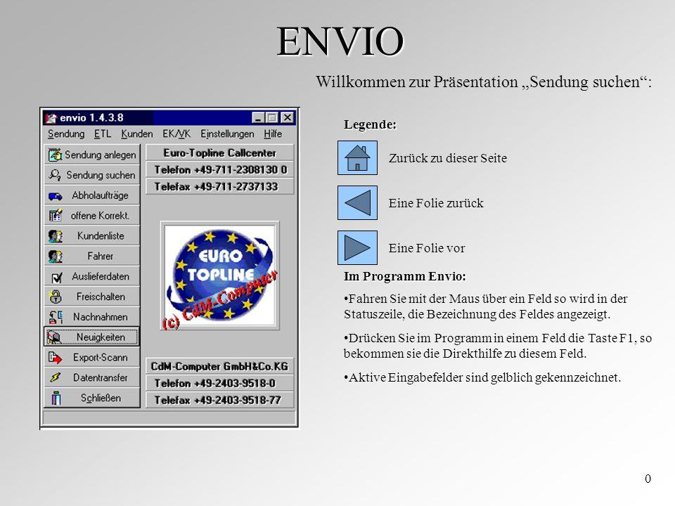 ENVIO 0 Willkommen zur Präsentation Sendung suchen: Zurück zu dieser Seite Eine Folie zurück Legende: Im Programm Envio: Fahren Sie mit der Maus über ein Feld so wird in der Statuszeile, die Bezeichnung des Feldes angezeigt.