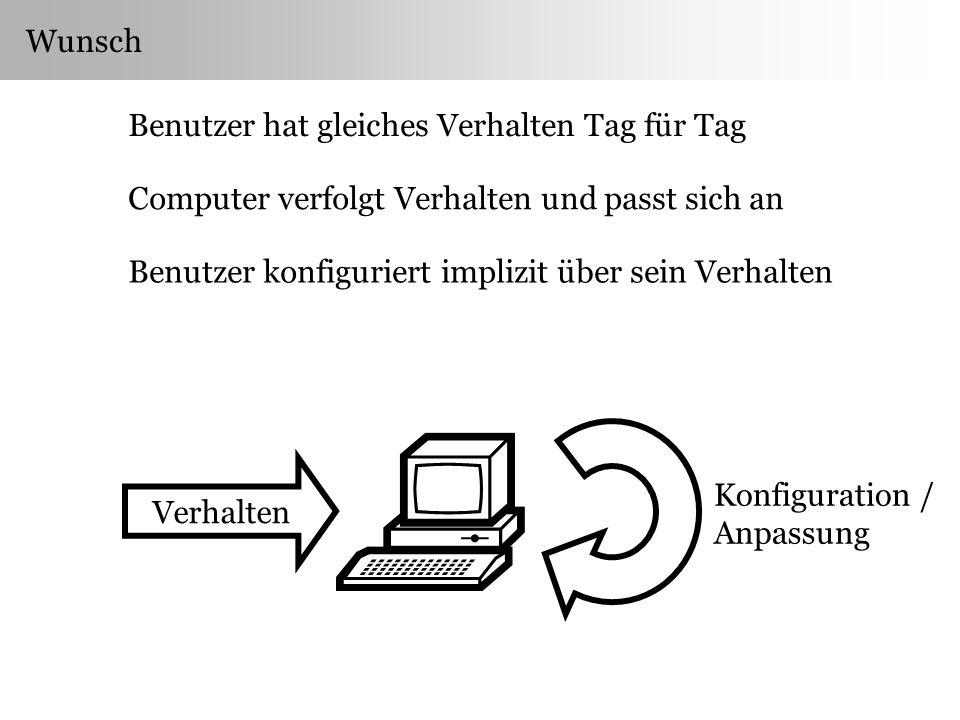 Wunsch Benutzer hat gleiches Verhalten Tag für Tag Computer verfolgt Verhalten und passt sich an Benutzer konfiguriert implizit über sein Verhalten Konfiguration / Anpassung Verhalten