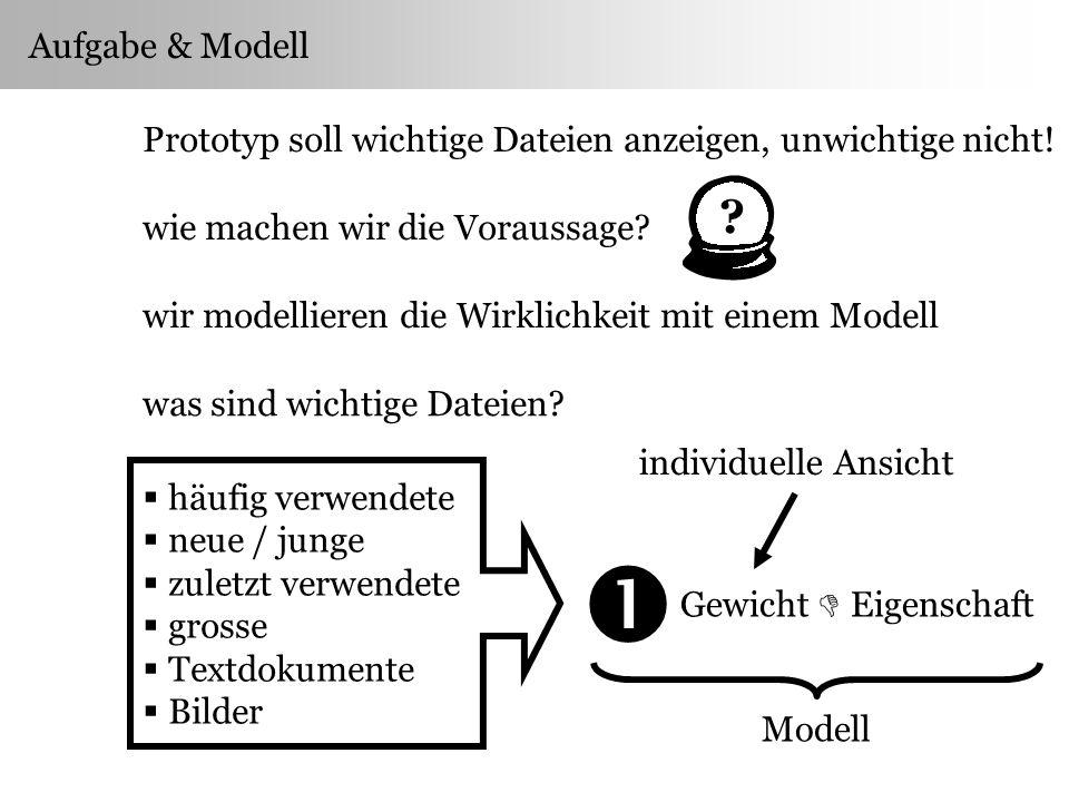 Aufgabe & Modell Prototyp soll wichtige Dateien anzeigen, unwichtige nicht.