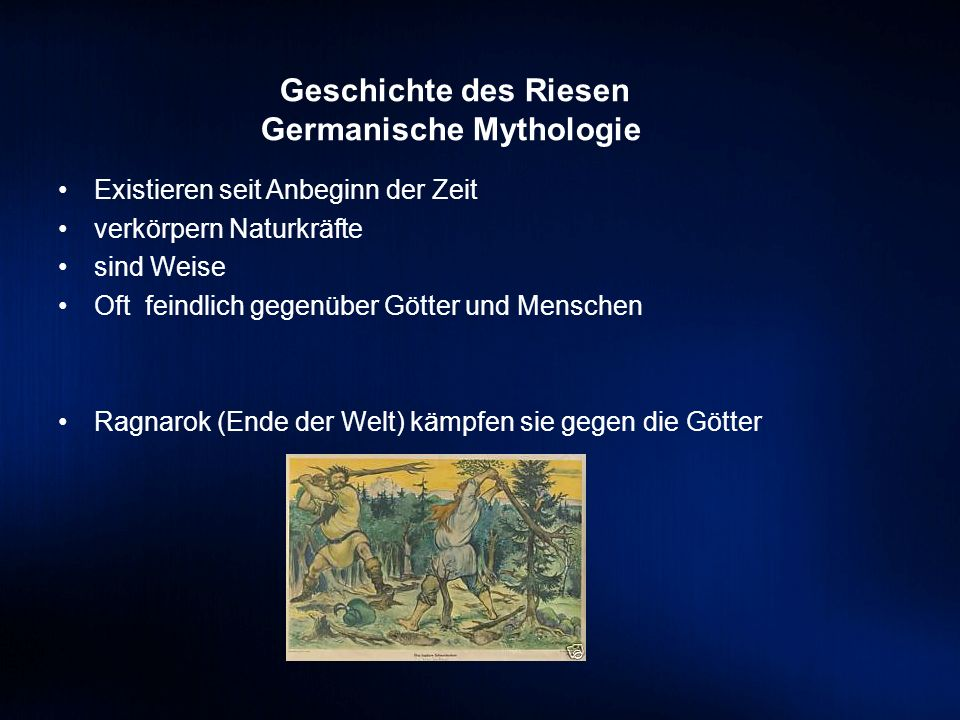 Geschichte des Riesen Germanische Mythologie Existieren seit Anbeginn der Zeit verkörpern Naturkräfte sind Weise Oft feindlich gegenüber Götter und Me